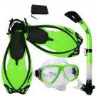 NEW Snorkeling Purge Mask Dry Snorkel Fins Dive Gear Bag Package Set Green