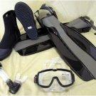 NEW Scuba Dive Mask Snorkel Boots Fins Gear Set Package