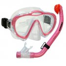NEW Kid's Silicone Mask, Dry Snorkel for Boy Girl Scuba Dive Snorkeling Gear Set Pink