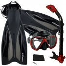 PROMATE Deluxe Snorkeling Diving Gear Mask Fins Set Red/Black