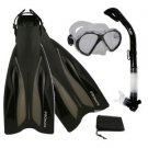 PROMATE Deluxe Snorkeling Diving Gear Mask Fins Set Clear/Black