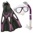 Dive Snorkeling Purge Mask Dry Snorkel Fins Gear Set Purple