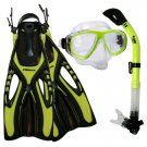 Dive Snorkeling Purge Mask Dry Snorkel Fins Gear Set Yellow