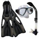 Dive Snorkeling Purge Mask Dry Snorkel Fins Gear Set Black