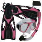 Womens Snorkeling Dive Mask Dry Snorkel Fins Gear Set Pink