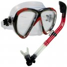 NEW Scuba Diving Matrix Mask Dry Snorkel Snorkeling Set Red