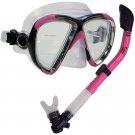 NEW Scuba Diving Matrix Mask Dry Snorkel Snorkeling Set Pink