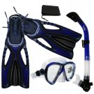 Adult Snorkeling Dive Mask Dry Snorkel Fins Gear Set Blue