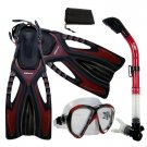 Adult Snorkeling Dive Mask Dry Snorkel Fins Gear Set Red