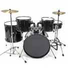 New Drum Set 5 PC Complete Adult Set Cymbals Full Size Black