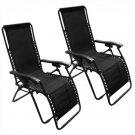 New Zero Gravity Chairs Case Of (2) Black Lounge Patio Chairs Outdoor Yard Beach