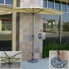 Patio Umbrella Half With Umbrella Stand 9' Tan Market Aluminum Commercial