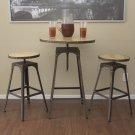 3pc Industrial Vintage Metal Design Bistro Set Adjustable High Bar Chair antique