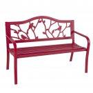 Rose Red Steel Patio Garden Park Bench Outdoor Living Patio Furniture