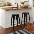 Metal Bar Stools Set of 2 Vintage Antique Style Counter Bar Stool French Black