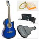 New Electric Acoustic Guitar Cutaway Design With Guitar Case, Strap, Tuner Blue