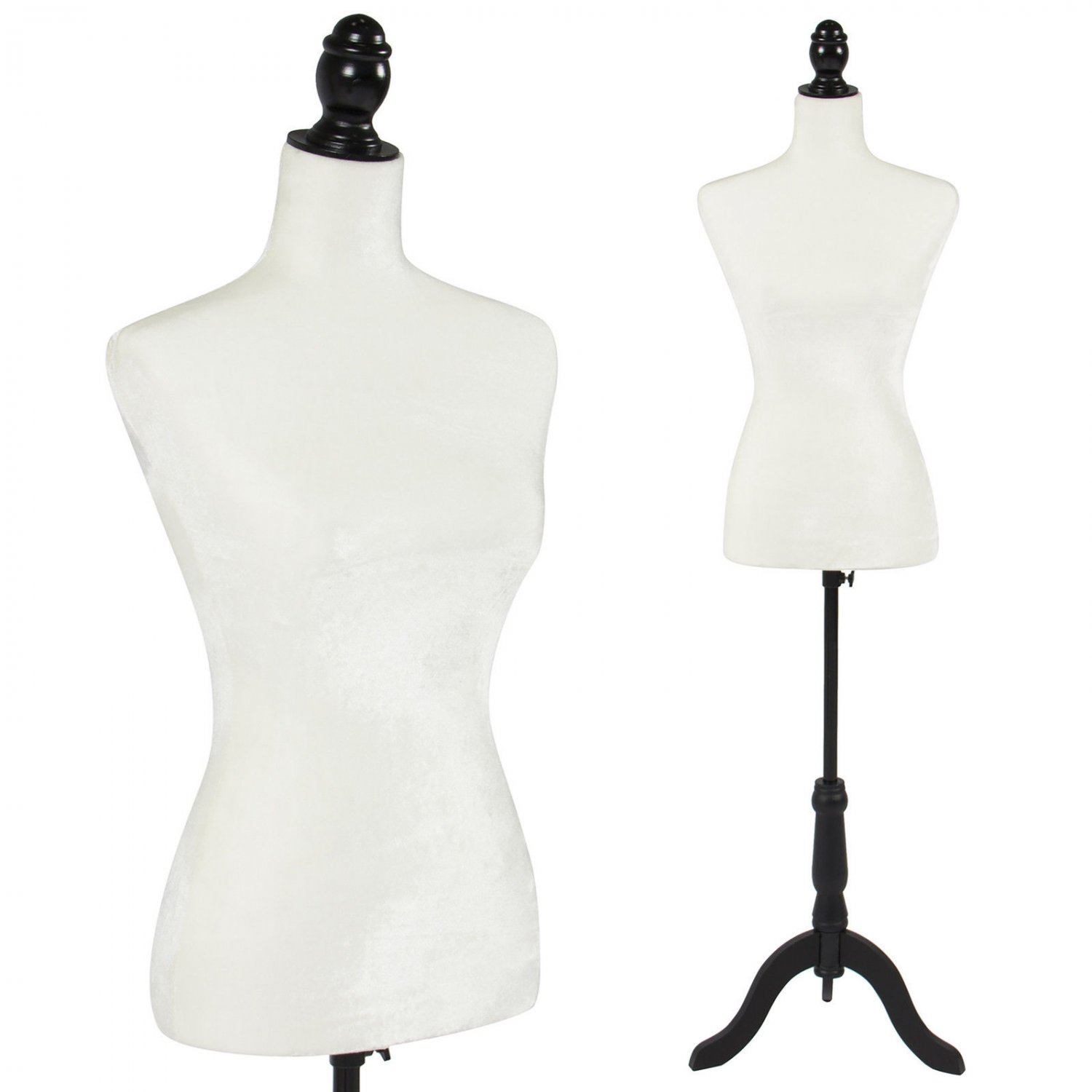 White Female Mannequin Torso Dress Form Display With Black Tripod Stand