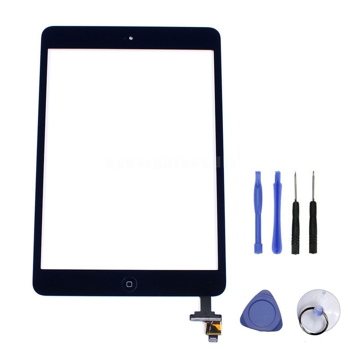 Black Touch Screen Glass Digitizer + Home Button + IC + Adhesive for iPad Mini 2