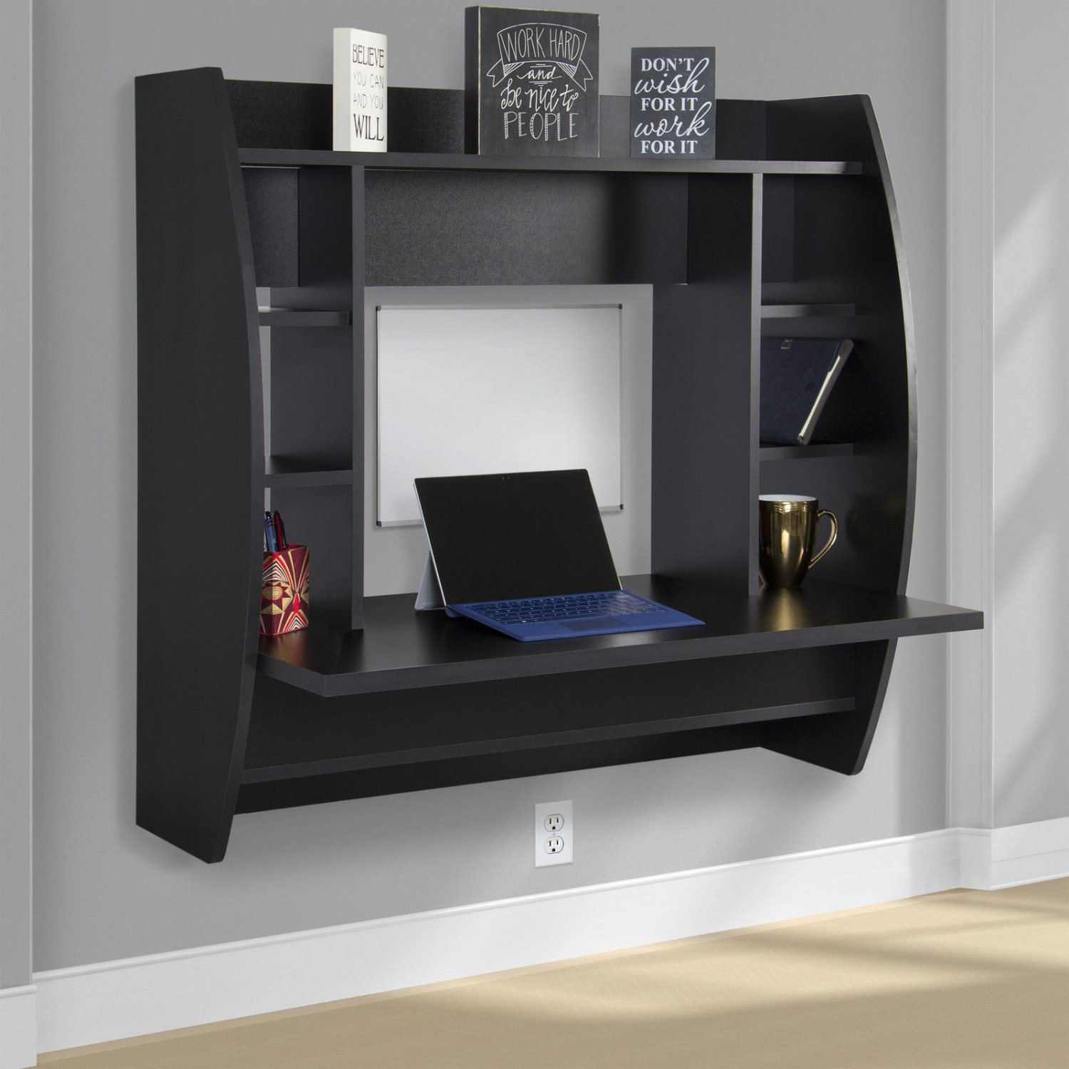 Floating Desk With Storage Wall Mounted Computer Desk Work Station