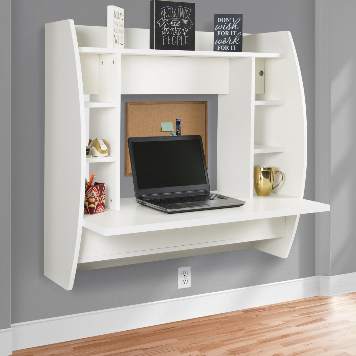 Floating Desk With Storage Wall Mounted Computer Desk Work