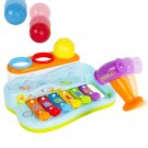 Musical Rainbow Xylophone Piano Pounding Bench for Kids with Balls and Hammer