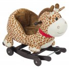 Kids Giraffe Animal Rocker W/ Wheels Children Ride On Toy Plush Rocking Chair