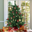 "22"" Tabletop Pre-lit Christmas Tree Battery Operated Berries and Gold Ornaments"