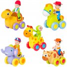 Push and Go Friction Powered Animal Cars Fun Toys Stocking Stuffer Set of 5