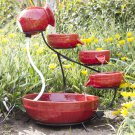 Ceramic Solar Water Fountain Garden Zen Free Standing Weather Proof Red