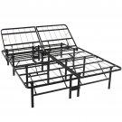 Adjustable Platform Metal Bed Frame No Box Spring Mattress Foundation Queen