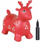 Kids Deer Hopper Inflatable Jumping Deer Ride-on Bouncy Pump Included Red