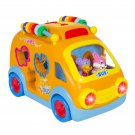 Educational Happy School Bus Toy Bump'n'Go, Music Animal Sounds Lights Games