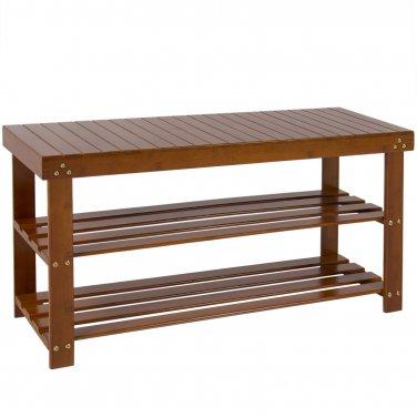 Bamboo Shoe Bench 2-Tier Boot Storage Racks Shelf Organizer Chair Seat Brown