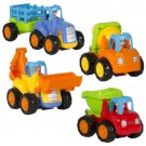 Push and Go Friction Powered Car Toys,Tractor, Bull Dozer truck, More Set of 4