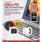 SanDisk 32GB 32 GB Ultra Fit Micro USB 3.0 Flash Pen Drive SDCZ43-032G 130MB