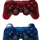 Lot of 2 PS2 Controller Double Joysticks Vibration Controls Red/ Blue Color