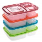 4 x Easy Lunch Boxes 3-compartment Bento Lunch Box Containers Classic Set of 4