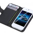 Fashion Wallet Case Flip Leather case Cover Stand with Card Holder for iPhone 4 4s 4g Black