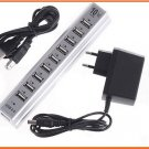 USB 2.0 10 Ports Hub + Power Adaptor PC Notebook