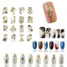Gold 3D Nail Art Stickers Decals Metallic Flowers Mixed Designs