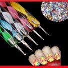 5pcs Marblezing DIY Nail Art Tools 2 Way Nail Dotting Pen