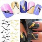 Nail Art Water Transfers Stickers Decals Metallic Gold/Sliver Funky Zipper/Zips