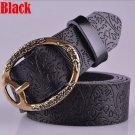Women's Vintage Belt Leather Belt Black