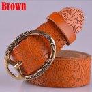 Women's Vintage Belt Leather Belt Brown