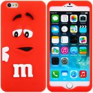 3D Cartoon M Chocolate Bean Pattern Silicone Case Cover for iPhone 6 - 4.7 inches(NR5)