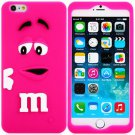 3D Cartoon M Chocolate Bean Pattern Silicone Case Cover for iPhone 6 - 4.7 inches(NR8)