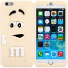 3D Cartoon M Chocolate Bean Pattern Silicone Case Cover for iPhone 6 - 4.7 inches(NR9)