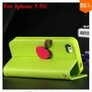 Cherry Heart Stand Case for iPhone 5 5S 5G  PU Leather Wallet   (color 2