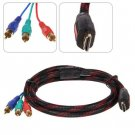 5 Feet PVC Jacket Gold-plated Connector HDMI to 3 RCA Converter Cable (Black)