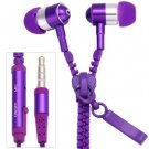 Portable Zipper Style High Fidelity Sound 1.2M Earphone with Mic for Smart Phones( purple)